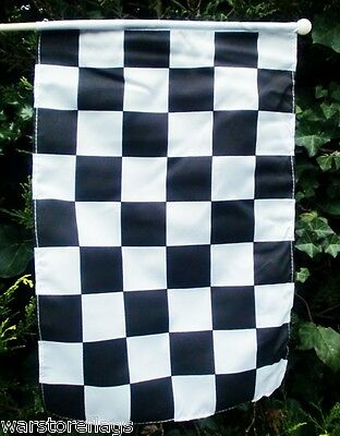 """Black & And White Checkered Large Handwaving Flag 18"""" X 12"""" With 24"""" Pole"""