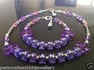 *personalised Any Name Bracelet & Necklace Set**birthdays,wedding,christening,