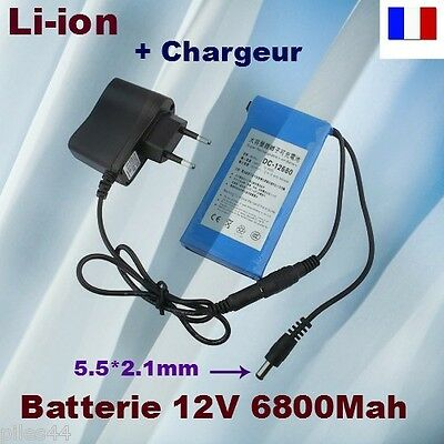Batterie Rechargeable 12V Li-ion 6800mAh + Chargeur Battery Accus Accu Lithium