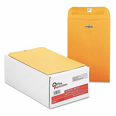 2 Boxes (100 each) OFFICE IMPRESSIONS Brown Kraft Clasp Envelopes 6 X 9