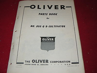 Oliver Tractor 895 QD Cultivator Dealer's Parts Book