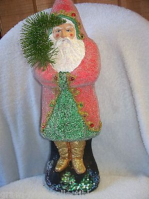 14 IN SANTA HOLDING TREE RED COAT WITH COLORED JEWELED GOLD BOOTS GLITTERED