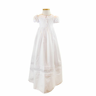 NEW Elegant COTTON Baby Girls Christening Baptism Gown + Bonnet sz 0000-1 WHITE