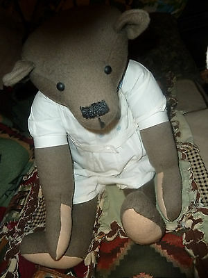 RARE UNIQUE VINTAGE HUGE  WOOL ARTIST TEDDY BEAR 24 IN TALL ANTIQUE BABY JUMPER