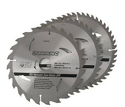 3 LAME SCIE CIRCULAIRE 200 x 30 CARBURE TUNGSTENE  24 40 48 DENTS BAGUE 16 18 25