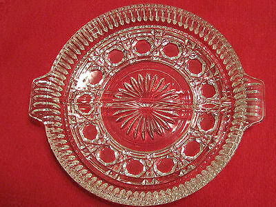 """ANTIQUE EAPG 7 3/8"""" DIAMETER CLEAR CRYSTAL ROUND DIVIDED GLASS 1 1/4"""" HIGH DISH"""