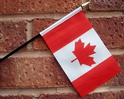 """CANADA HAND WAVING FLAG Small 6"""" x 4"""" with black pole Canadian Ottawa Vancouver"""