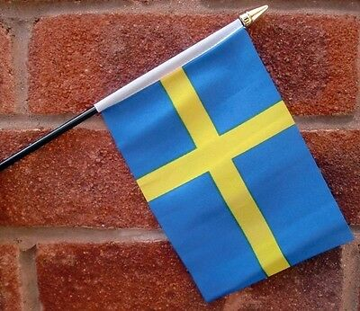 "SWEDEN HAND WAVING FLAG Small 6"" x 4"" with black pole SWEDISH SVERIGE"