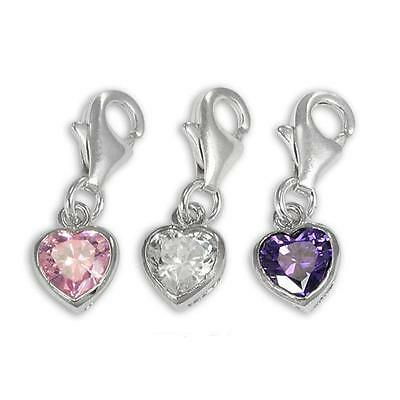 925 Sterling Silver Heart Crystal Clip on Charm ** 10 Colours ** Free Shipping**