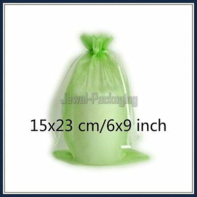 """50 Apple Green Organza Wedding Gift Favour Packaging Bags Jewelry Pouches 6X9"""""""