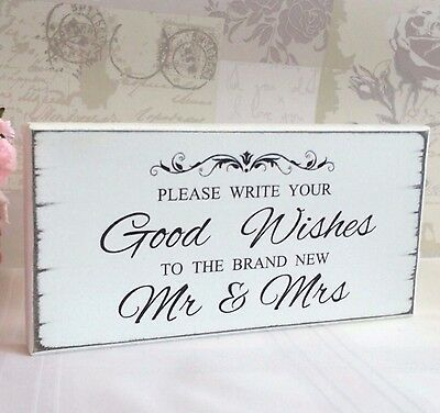 Wedding Signs Guest Book Sign Good Wishes Free Standing Shabby Vintage Chic