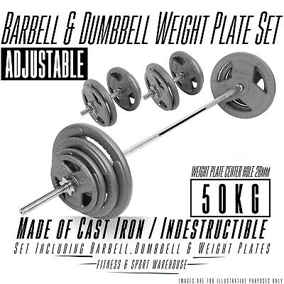 50KG Adjustable Barbell & Dumbbell Set Bar Cast Iron Hammertone Weight Plate Gym