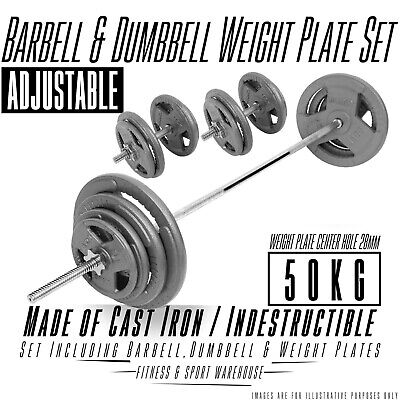 50kg Hammertone Barbell/Dumbbell Weights Set Gym Exercise Accessories For Home