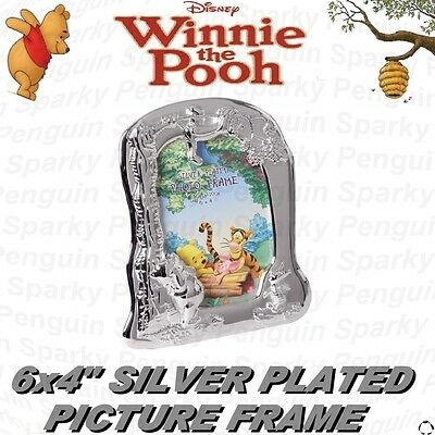 Disney Winnie The Pooh Silver Plated Photograph Picture Frame Christening Gift