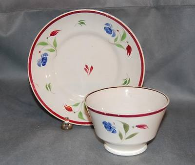 Antique English Pottery Pearlware Blue Burgundy Flower Painted Tea Cup & Saucer