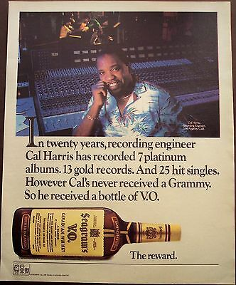 vintage 1985 Ad Seagram's V.O. Canadian Whiskey recording engineer Cal Harris