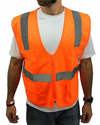 MEDIUM Orange  ANSI CLASS 2  Reflective Tape/  High Visibility Safety Vest