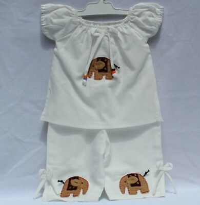 Girls Elephant Design Pants Suit 100% Cotton Handmade in Thailand Size 0-3yrs