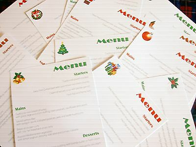 Personalised Christmas Festive Menu Cards for Wedding, office Meal, Party ETC