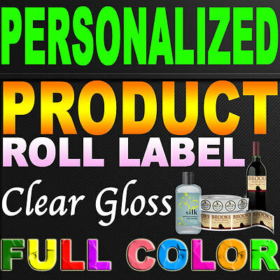 """250 Custom Designed Product Roll Label Clear Gloss Indoor Laminate 3.0"""" x 3.0"""""""