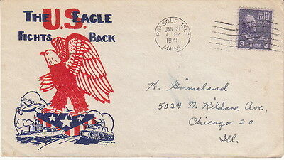 The U.s. Eagle Fights Back - 1945 Postmarked Ww2 Patriotic Cachet Postal Cover