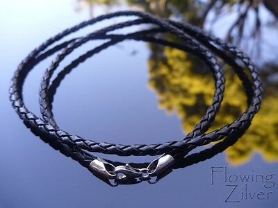 """925 Sterling Silver & Braided Leather Choker Cord 3mm 20"""" 50cm Lobster Necklace"""