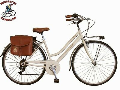 28 zoll aluminium city bike fahrrad damenrad retro woman rot blau creme. Black Bedroom Furniture Sets. Home Design Ideas