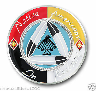 "Native Americans In Recovery""Healing Hoop""  AA 12 Step Enameled Coin/Medallion"
