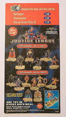 JACK In The BOX KIDS MEAL MENU SIGN BOARD - JUSTICE LEAGUE TOY PROMO 2004