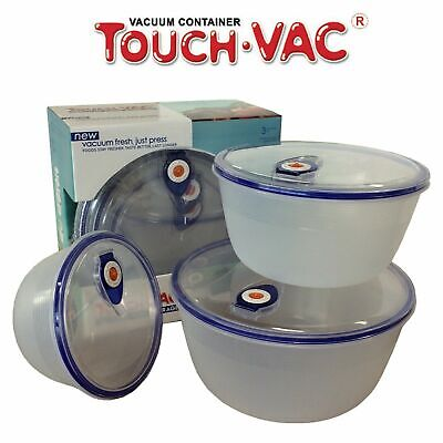 3pcs TouchVac Airtight Vacuum Sealed Kitchen Storage Container - Microwave Safe