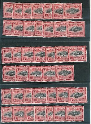 TONGA 1942 1d TREE SG75 UNMOUNTED MINT...40 stamps cv £100...L2