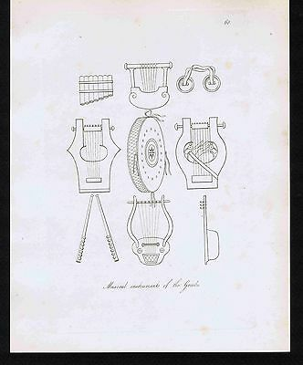 Greek Musical Instruments-Lyre-Lute-Cymbals-Flute-Drum-1809 Copper Engraving