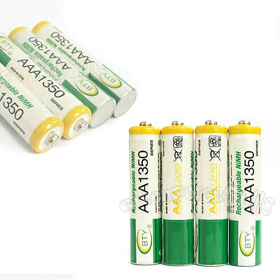 4 pcs AAA Size 3A LR03 R03 1350mAh 1.2V Ni-MH Rechargeable Battery Cell/RC BTY
