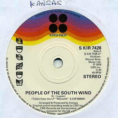 "Kansas-People Of The South Wind/Stay Out Of Trouble UK 7"" EX Cond"