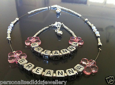 **silver Personalised Bracelet & Necklace Set* Flower Girl,wedding,christening