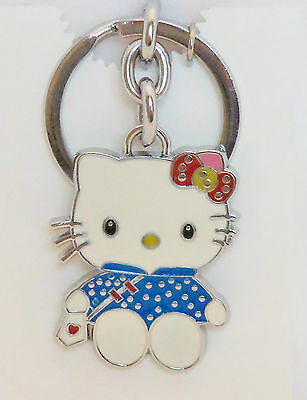 Blue polka Dot Dress Hello Kitty with Heart Purse Enameled  Key Chain