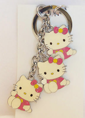 Three Hello Kitty with Pink Dress Enameled  Key Chain