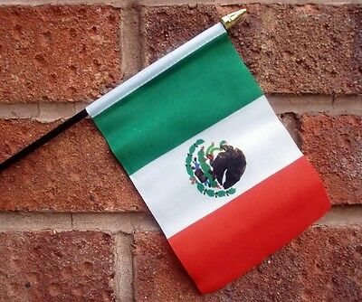 "MEXICO HAND WAVING FLAG small 6"" x 4"" with 10"" pole MEXICAN FLAGS"