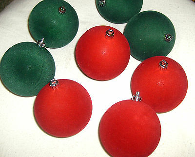 """Lot of 8 Christmas Ball Ornaments - red & green - 3"""" diameter"""