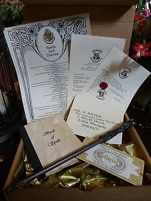 Harry Potter Magic Wand,acceptance letter,book of spells,Hogwarts Express ticket