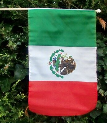 "MEXICO LARGE HAND WAVING FLAG 18"" X 12"" WITH 24"" POLE flags MEXICAN"
