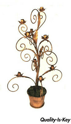 Gold Wrought Iron Tall Whimsical Flower Pot Candelabra 9 Candle Holder Stand