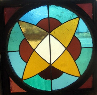~ Unique Antique American Stained Glass Window ~ Great ~ Atomic Symbol ~ Salvage