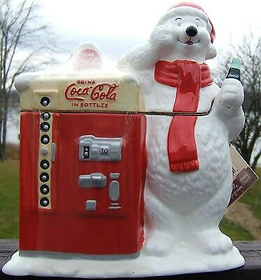 COCA COLA POLAR BEAR Ceramic COOKIE JAR Original SHRINK WRAP and COKE LABEL