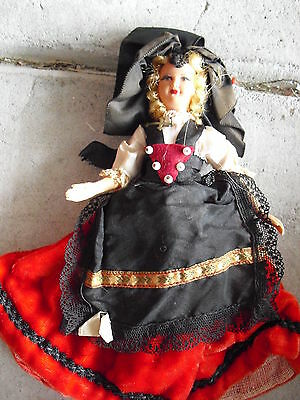 "Vintage 1940s Jointed Celluloid Alsace Girl Doll in Red and Black Outfit 7"" Tall"