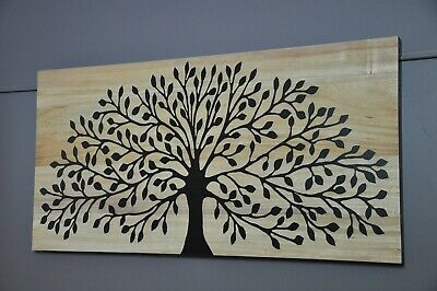 Natures Gift-Carved Tree Timber Wall Art Panel-Black-Natural Wood Reverse Cut