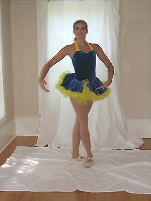 Blue/Yellow Polka Dot Tutu Dance Costume by Weissman's Child X-Large Ballet Tap