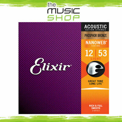 6 Sets Of  Elixir Nanoweb 12-53 Phosphor Bronze Acoustic Guitar Strings - 16052