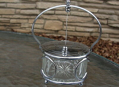 Vintage Glass & Chrome Flip Top Sugar Bowl