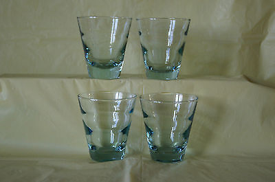 Lot of 4 Libbey pale ice blue old fashion highball glass tumblers rings EUC